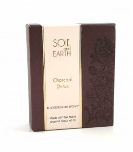 Ręcznie robione w Indiach mydło CHARCOAL DETOX 100% VEGAN 125g Soil&Earth - oczyszczające z węglem