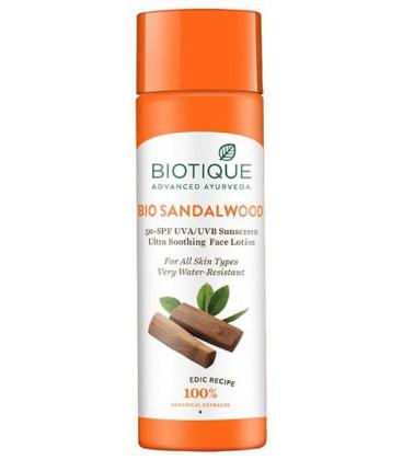 Balsam do ciała Sandałowy z ochroną słoneczną 50+ SPF BIO SANDALWOOD Lotion 190ml Biotique