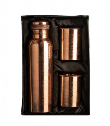 SO301 – Engraved Copper Bottle and Glass Set (Velvet box)
