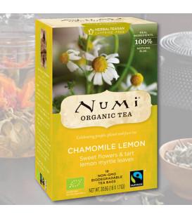 Organiczna herbata Słodkie kwiaty rumianku & liście mirtu cytrynowego, 18 torebek, Numi Tea