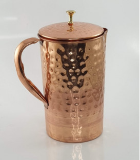 Miedziany Dzbanek Wytłaczany z mosiężnym knotem 1,5 litr Ayur Water [SE 252]