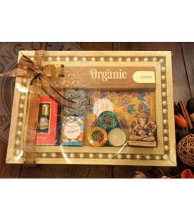 Golden Tray with Pearl Border - Ganesh figurine, Incense Glycerin Soap and 3Scented Candles