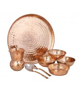 Miedziany Zestaw Thali - Naczynia Obiadowe z Indii [SE 163]