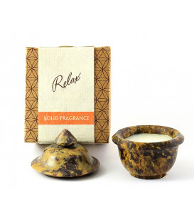 8 g. Solid Perfume in Smooth Stone Jars in Khaki Box Buddha Delight