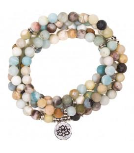 """Naszyjnik Mala z Amazonitu z 108 """"perłami""""- symbol Lotosu - na elastycznej gumce"""