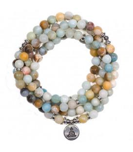 """Naszyjnik Mala z Amazonitu z 108 """"perłami""""- symbol Buddhy - na elastycznej gumce"""