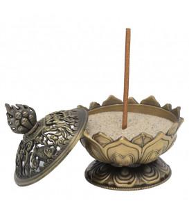 Kadzielnica z motywem Lotosa do kadzideł sypkich lub stożkowych, kolor - Mosiadz