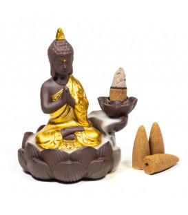 Podstawka do stożków Backflow - Buddha i Kwiat Lotosu - kolor brązowo złoty, 12x10x9cm