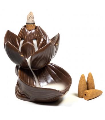 Podstawka do stożków Backflow - Kwiat Lotosu - kolor brązowy 11x10.5x8.5cm