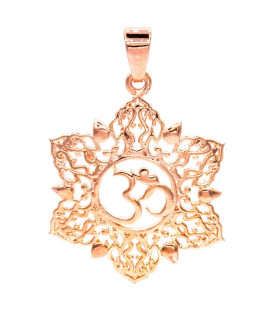 Zawieszka w kształcie LOTOSU z OHM z mosiądzu kolor różowe złoto szer 3cm