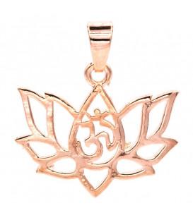 Zawieszka w kształcie LOTOSU z OHM z mosiądzu kolor różowe złoto szer 2 5cm