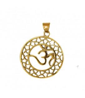 Zawieszka OHM z mosiądzu kolor złota szer 3 5cm