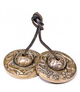 Cymbałki z Nepalu Tingsha - Symbol Smoka, średnica 7,7cm, 369g, z Brązu