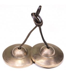 Cymbałki z Nepalu Tingsha - Proste Talerze z Brązu, średnica 7,8-7.7cm, 337g.