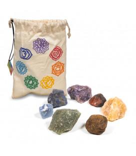 Zestaw 7 kamieni czakralnych w bawełnianym woreczku