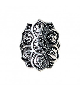 Pierścionek Lotos z mosiądzu z mantrą Om Mani Padme Hum w kolorze srebrnym