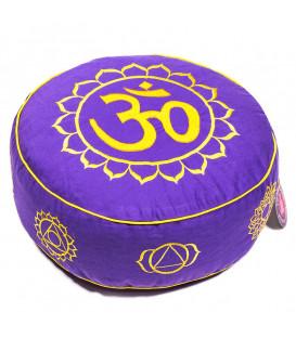 Poduszka do medytacji 7 Chakr Ohm, kolor Fioletowy ze złotem 33x17 cm, Yogi & Yogini