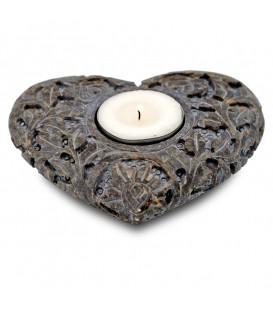 Świecznik 2w1 w kształcie serca, kamień steatytowy - kolor szary, 9x11 cm