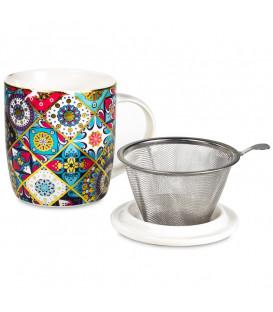 Kubek Oriental do herbaty z pokrywką i zaparzaczem ze stali nierdzewnej Gift Box