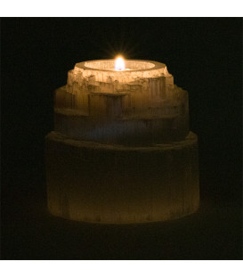 Świecznik z Selenitu - Wodospad - 600 g r.8x8 cm (Maroko)