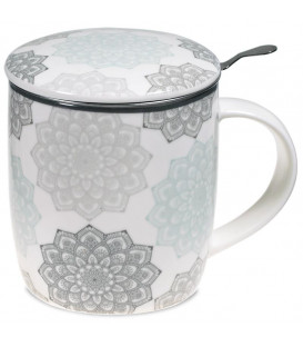 Kubek Mandala szary do herbaty z pokrywką i zaparzaczem ze stali nierdzewnej Gift Box