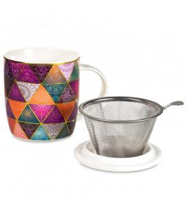 Kubek Patchwork do herbaty z pokrywką i zaparzaczem ze stali nierdzewnej Gift Box