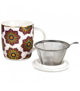 Kubek Mandala Red do herbaty z pokrywką i zaparzaczem ze stali nierdzewnej Gift Box
