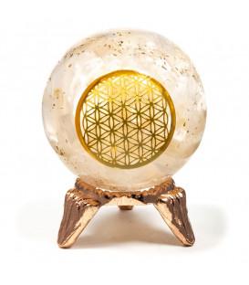 Orgonit Kula z Selenitu - symbol Flower of Life, Odpromiennik na podstawce, średnica 5cm