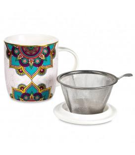 Kubek Oriental Mandala Turquoise do herbaty z pokrywką i zaparzaczem ze stali nierdzewnej Gift Box