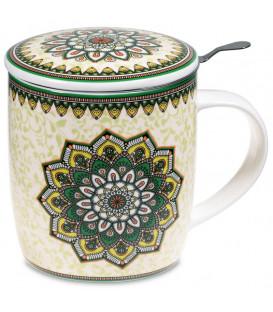 Kubek Oriental Mandala Green do herbaty z pokrywką i zaparzaczem ze stali nierdzewnej - Gift Box