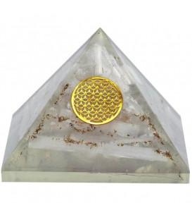 Orgonit Piramida z Selenitu - symbol Flower of Life, Odpromiennik, Rozmiar 7.5x7.5x6 cm