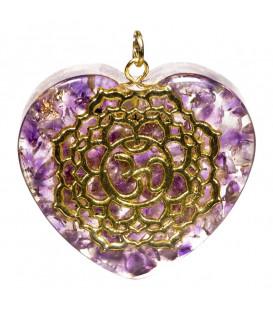 Naszyjnik orgonitowy w kształcie serca 7 Czakra Korony r.4x4,2 cm