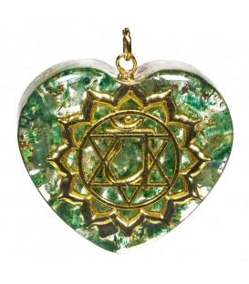 Naszyjnik orgonitowy w kształcie serca 4 Czakra Serca r.4x4,2 cm