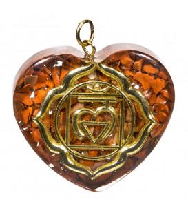 Naszyjnik orgonitowy w kształcie serca 1 Czakra Korzenia r.4x4,2 cm