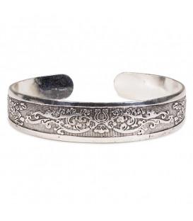 Bransoletka srebrna cynkowa od grupy etnicznej Miao, szerokość 1,5 cm