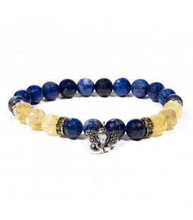 Bransoletka lapis lazuli/kwarc rutylowany z zawieszką z Ganeshem
