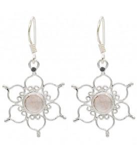 Kolczyki lotos ze srebra próby 925 z różowym kwarcem dł.3 cm