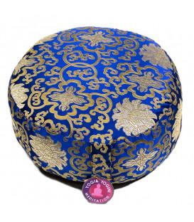 Poduszka do medytacji Lotus zdobiona złotą nicią, Kolor Niebieski, 33x17 cm, Yogi & Yogini