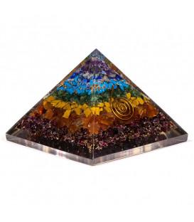 Orgonit 7 Czakr Piramida do wzmocnienia energii czakralnej, Odpromiennik, Rozmiar 7.5x7.5x6 cm