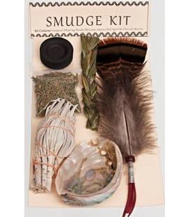 Zestaw do okadzania od Indian Nawaho - biała szałwia pęczek, muszla pao, pióro, słodka trawa