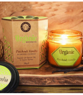 200 g. Organic Goodness Soy Candle in Amber Colored Patchouli Vanilla