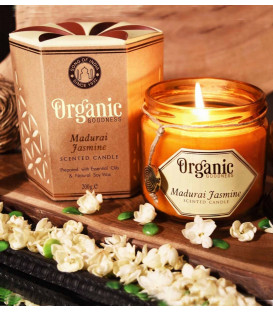 200 g. Organic Goodness Soy Candle in Amber Colored Madurai Jasmine