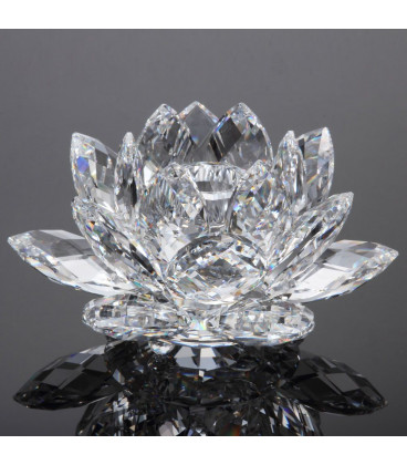 Lotus candle holder crystal M  4.5x11 cm