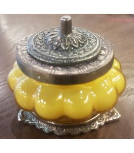 Świeca Ręcznie Robiona w żółtym szkle z orientalnym motywem - Drzewo Sandałowe Song of India