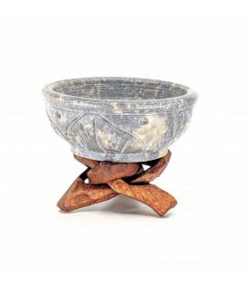 Kadzielnica Miseczka kamienna do spalania żywicy zapachowej i stożków na drewnianym stojaku, rozmiar 6.5 x 4 cm Song of India