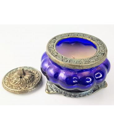 Świeca Ręcznie Robiona w szkle z orientalnym motywem - Kwiat Nag Champa - Song of India