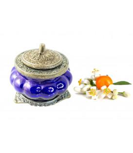 Świeca Ręcznie Robiona w niebieskim szkle z orientalnym motywem - ZAPACH NEROLI - 100g, Song of India