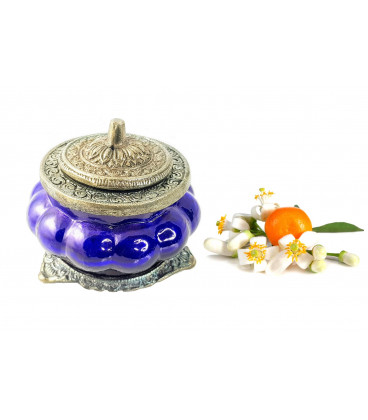 Świeca Ręcznie Robiona w niebieskim szkle z orientalnym motywem - ZAPACH NEROLI - Song of India