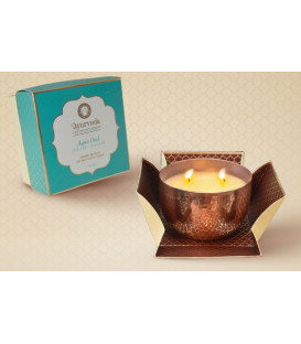 200 g. Luxurious Veda Scented Candle in Copper Plated Aqua Oud (Pitta)