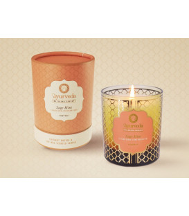 200 g. Luxurious Veda Scented Candle in Brown Colored Sage Mint (Kapha)